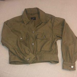 Olive green cropped jacket
